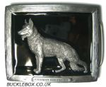 German Shepherd Alsatian Dog  Belt Buckle + display stand. Product code BH7